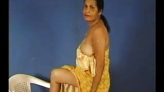 Amateur Indian woman teasing her cute saggy breasts