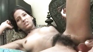 Indian babe with hairy pussy