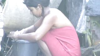 amazing desi village virgin gal bathing outside